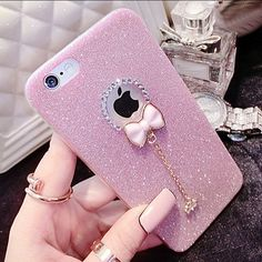 iPhone 6 Plus Case Pink Glitter With Bow Charm