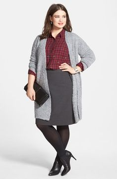 Halogen® Cardigan, Shirt & A-Line Skirt (Plus Size) available at #Nordstrom