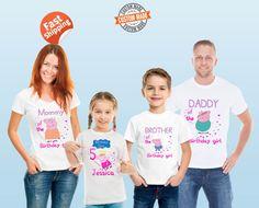 Tema de familia cumpleaños Peppa pig camisas por DatBoutiqueNola