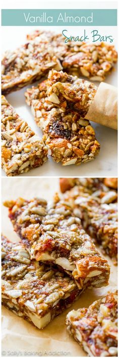 Chewy and wholesome snack bars that are sweet 'n salty, packed with whole foods, and are made without grains or refined sugars. Recipe on sallysbakingaddiction.com