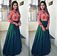 Nice combination of floral crop top & bottle green skirt Choli Designs, Lehenga Designs, Blouse Designs, Indian Designer Outfits, Indian Outfits, Designer Dresses, Indian Attire, Designer Wear, Indian Clothes
