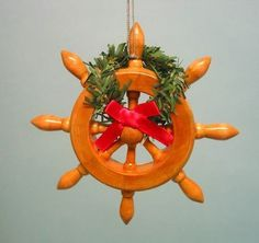 "4"" Wood Ships Wheel Ornament ~ Nautical Captain Pirate"