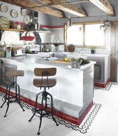 farmhouse kitchen, in Indie musician Neko Case's house. Love the tiles, beams, humility and cosiness.