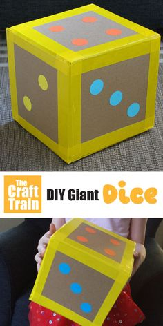 diy cardboard crafts Easy DIY giant dice for kids. This is a fun kids craft idea made from cardboard scraps with a printable template to use. Practice simple addition and subtraction or use for giant dice games! Cardboard Crafts Kids, Fun Crafts For Kids, Projects For Kids, Diy For Kids, Activities For Kids, Craft Projects, Paper Crafts, Cardboard Recycling, Cardboard Playhouse