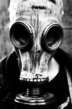 This gas mask reminds me of a skull. I wonder if a skull-style paint job on one would look good. Chernobyl, Gas Mask Art, Masks Art, Gas Masks, Gas Mask Tattoo, Plague Mask, In The Air Tonight, Post Apocalyptic Fashion, Plague Doctor