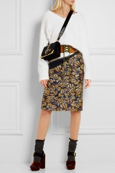 Metallic Floral-jacquard Pencil Skirt - Navy Prada Clearance Top Quality Comfortable Online Free Shipping Eastbay CEbVsmdQA