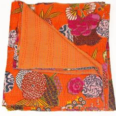 Orange Botanic Kantha Quilt | Secret Ships