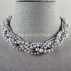 Gray Pearl Necklace, Wedding Pearl Necklace, Multistrand necklace - 18 Inches 5 Rows 3-8mm Gray Genuine Fresh Water Pearl - Free Shipping on Etsy, $33.00