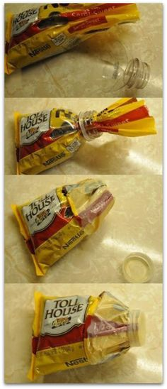 use a milk, water or pop bottle to make a chocolate chip pour spout!