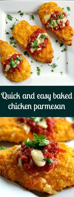 Quick and easy baked chicken parmesan, a healthy recipe that brings the whole family together around the table.
