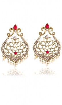 Red and Gold Color Artificial Chandelier Style Earring | FH405965686