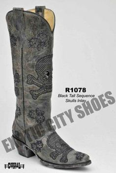 Corral Women's Cowboy Western Boots Black Tall Sequins Embroidered Skulls R1078 | eBay