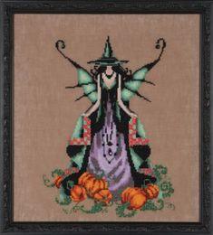 Luna Bewitching Pixies - Counted Cross Stitch Pattern - Nora Corbett Halloween Witch Cross Stitch Needlework Pattern Chart