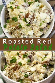 This roasted red potato salad recipe with egg, bacon and green onions makes it a favourite go-to for a quick and delicious side dish all year long. Homemade Potato Salads, Roasted Potato Salads, Red Potato Recipes, Warm Potato Salads, Potato Salad Recipe Easy, Herb Roasted Potatoes, Egg Recipes, Oven Recipes, Dinner Recipes