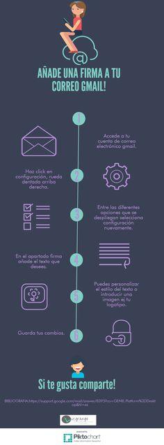 """Hola: Una infografía sobre """"Añade una firma a tu correo Gmail"""". Vía Un saludo"""
