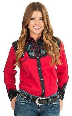 Wrangler Women's Red with Floral Embroidered Yokes Long Sleeve Retro Western Shirt