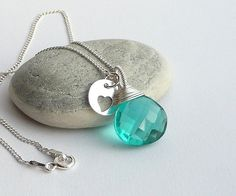 Quartz Necklace,Sterling Silver Necklace, Delicate Necklace, Quartz Briolette, Wire Wrapped Necklace