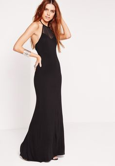 Missguided - Halterneck Mesh Insert Maxi Dress Black