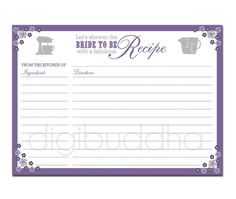 Bridal Shower Recipe Cards Invitations