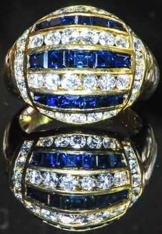 Captivating Natural Sapphire and Diamond Ring by Bellman Jewelers #Signet