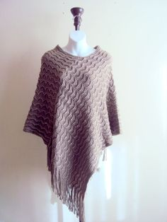 Knit Poncho Lightweight Cape Taupe Brown Poncho by GrahamsBazaar