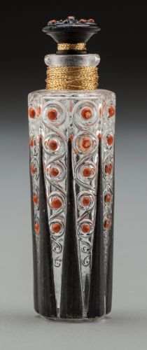 Art Deco Enameled Glass Perfume, Attributed to Paul Poiret. Circa1925. Ht. 2-3/4 in.