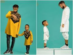 The serial entrepreneur Toyin Lawani's baby daddy Lord Triggs and their son Oluwatenola Jermaine stunned in matching outfits for a photo shoot.  See photos below: