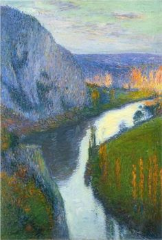 View of the Lot of Saint Cirq Lapopie - Henri Martin was a renowned neo-impressionist painter whose works are beautiful but not ground-breaking.