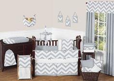 Sweet Jojo Designs Gray White Chevron Zigzag Baby Crib Bedding Set for Boy Girl