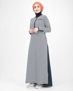 Beautiful Navy White Striped Mix Fabric Abaya or Jilbab – Hijab Fashion 2020 Abaya Fashion, Fashion Dresses, Mode Abaya, Chiffon Dress Long, Islamic Clothing, Crepe Fabric, Fashion 2020, Women's Fashion, Traditional Outfits
