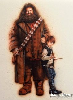 We've featured the amazing mash-ups of James Hance previously, but holy hell has he outdone himself with this piece, where he puts Rupert Grint and Robbie Coltrane, as their Harry Potter characters Ron Weasley and Hagrid, as the two most famous scoundrels of the Star Wars universe.