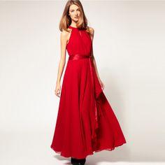 Free Shipping Sleeveless Key-hole O-neck A-line Big Hem Ruffled Layers Slit Long Chiffon Women Dress Lady One-piece Dress $38.00