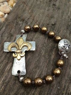 Keeping the Faith Sideways Cross Bracelet with pearls by YKnotBead, $52.00