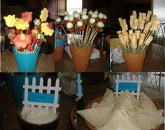 Garden theme.  Can't go wrong with food on a stick.