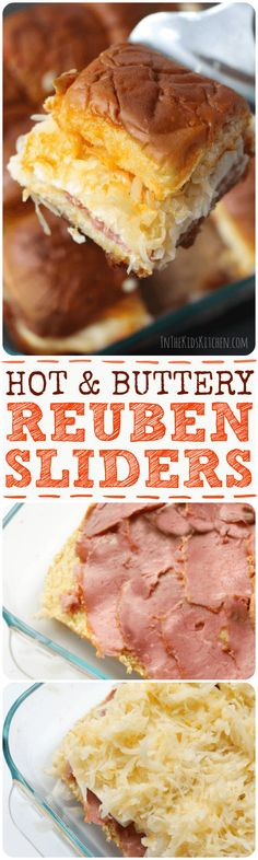 """The perfect mini sandwich - Hot out of the oven, with a """"secret"""" butter dressing cooked into the bread, these Reuben Sliders literally melt in your mouth!"""