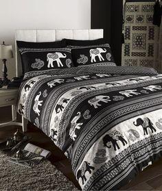 EMPIRE INDIAN ELEPHANT ANIMAL PRINT KING BED DUVET QUILT COVER BEDDING SET BLACK in Home, Furniture & DIY, Bedding, Bed Linens & Sets | eBay