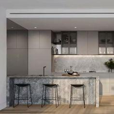 Stunning AirSmart Indoor Environment System Linear Air Grille Modern Kitchen Interiors, Luxury Kitchen Design, Kitchen Room Design, Contemporary Kitchen Design, Home Decor Kitchen, Interior Design Kitchen, Kitchen Furniture, Modern Contemporary, Minimal Kitchen Design
