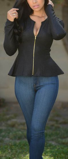 - Available in Black and Ivory - Peplum Jacket - Ridged Fabric - Gold Zipper… Trendy Outfits, Cute Outfits, Fashion Outfits, Womens Fashion, Fashion Trends, Dress Fashion, I Love Fashion, Passion For Fashion, Autumn Winter Fashion