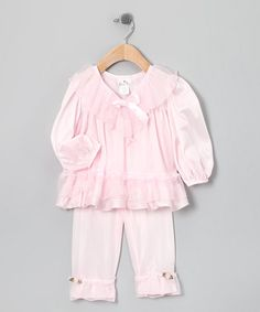Take a look at this Pink Ruffle Pajama Top & Pants - Infant & Girls by Laura Dare Sleepwear on #zulily today!