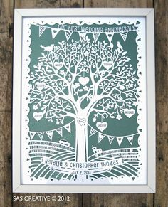 First anniversary paper cut by Samantha's Papercuts - so unique and beautiful!