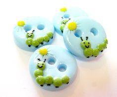 Sunshine caterpillar handmade buttons | TessaAnn on Etsy