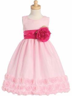 Pink Blossom Tulle Dress Floral Ribbon Edge Detachable Sash & Flower