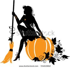 Beautiful witch with broom and pumpkin Silhouette vector illustration