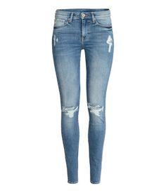 Skinny Regular Jeans   Denimblå/Slitt   Dame   H&M NO