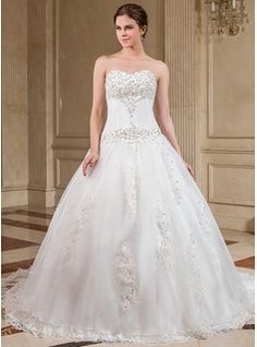 Wedding Dresses - $224.99 - Ball-Gown Sweetheart Chapel Train Organza Wedding Dress With Lace Beading  http://www.dressfirst.com/Ball-Gown-Sweetheart-Chapel-Train-Organza-Wedding-Dress-With-Lace-Beading-002000281-g281