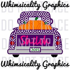 Digital File - Diamond Vintage Truck With Pumpkins For Monogram with svg, dxf, png, eps Commercial & Personal Use
