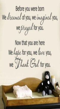 We Thank God for You wall decal starts your child off right, secure in your love and in Gods love. baby-nursery-child-s-room Great Quotes, Quotes To Live By, Me Quotes, Inspirational Quotes, Wall Quotes, Wall Sayings, Abc Letra, Nursery Wall Decals, Nursery Room