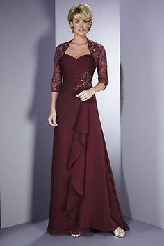 Plus size Mother of the Bride Dresses Evening Gown free lace Half Sleeves Jacket