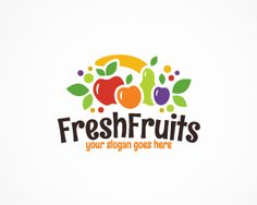 Fresh Fruits Logo design - Modern, colorful logo featuring different fruits ( ba. Fruit Juice, Fruit And Veg, Fresh Fruit, Salad Packaging, Juice Logo, Fruit Company, Healthy Fruit Smoothies, Fruit Logo, Fruit Shop