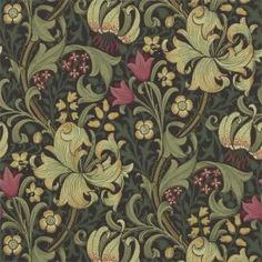 A classic William Morris wallpaper floral lilies in greens and reds on a charcoal background. Large floral design traditional arts and crafts wallpaper. William Morris Wallpaper, William Morris Art, Morris Wallpapers, Lily Wallpaper, Pattern Wallpaper, Bedroom Wallpaper, Wallpaper Ideas, Craftsman Wallpaper, Craftsman Fabric